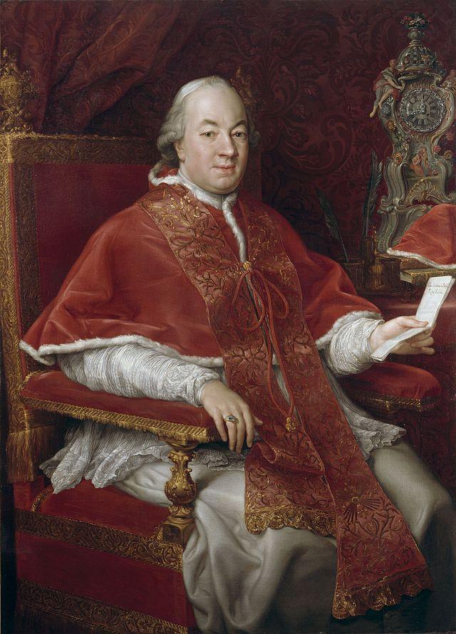 Papa Pius al VI-lea in imbracamintea papala la Palatul Braschi imediat dupa intronare in 1775